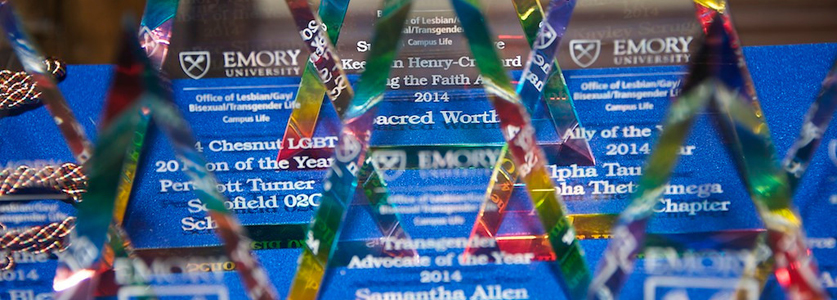 Awards are lined up on a table at the Gay and Lesbian Alumni (GALA) Leadership Award ceremony.