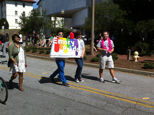 LGBT students march at the homecoming parade.